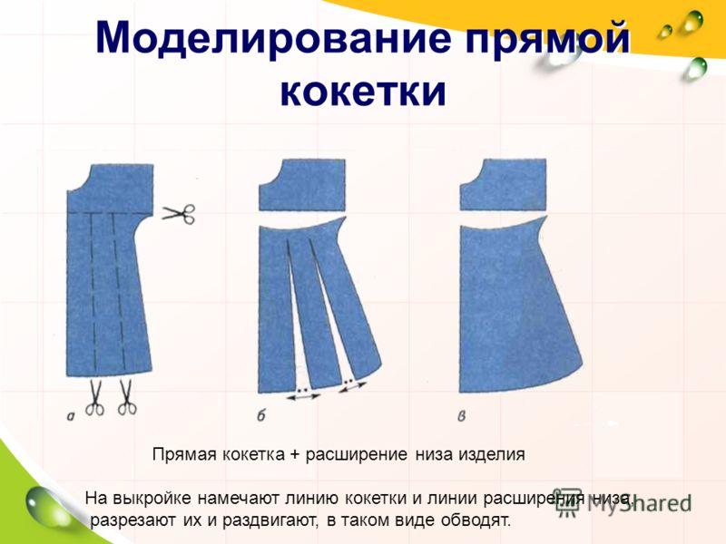 Моделирование кокетки Коке́тка отрезная деталь одежды, которая образует её верхнюю часть. Новую форму плечевого изделия можно получить моделированием кокетки с одновременным расширением низа. Форма линии, по которой отрезается кокетка, может быть люб