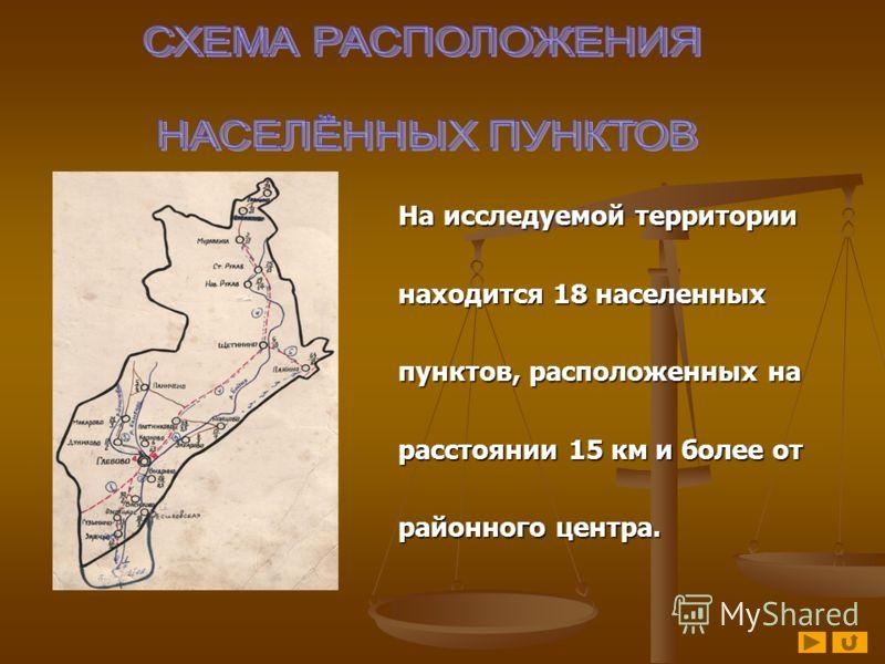 На исследуемой территории На исследуемой территории находится 18 населенных находится 18 населенных пунктов, расположенных на пунктов, расположенных на расстоянии 15 км и более от расстоянии 15 км и более от районного центра. районного центра.