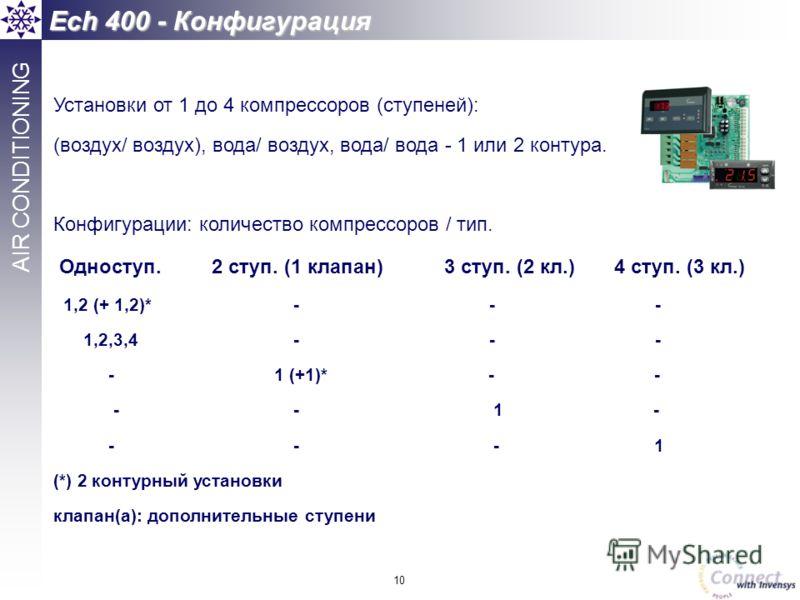 10 AIR CONDITIONING Установки от 1 до 4 компрессоров (ступеней): (воздух/ воздух), вода/ воздух, вода/ вода - 1 или 2 контура. Конфигурации: количество компрессоров / тип. Одноступ. 2 ступ. (1 клапан) 3 ступ. (2 кл.) 4 ступ. (3 кл.) 1,2 (+ 1,2)* - -
