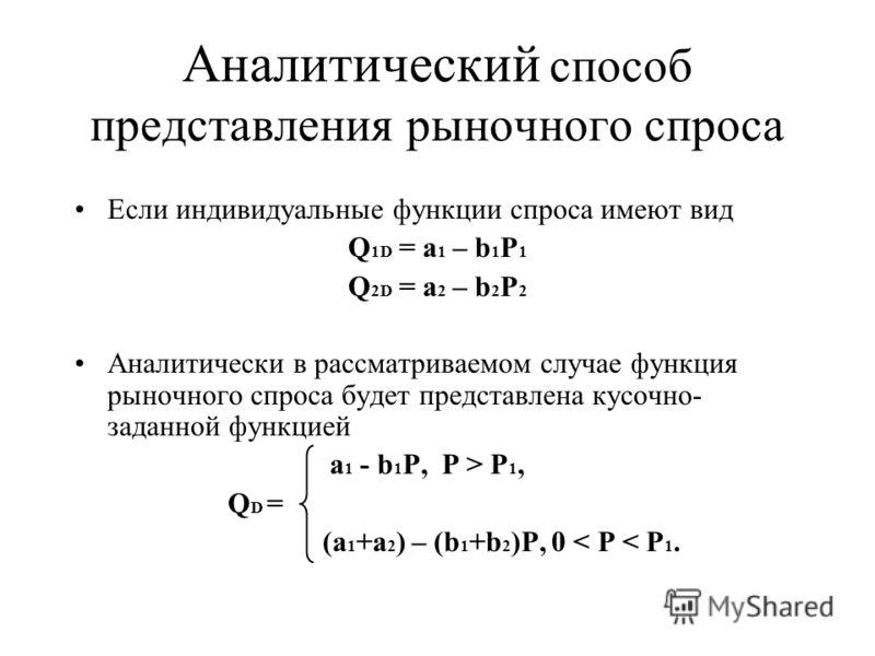 Аналитический способ представления рыночного спроса Если индивидуальные функции спроса имеют вид Q 1D = а 1 – b 1 P 1 Q 2D = а 2 – b 2 P 2 Аналитически в рассматриваемом случае функция рыночного спроса будет представлена кусочно- заданной функцией а