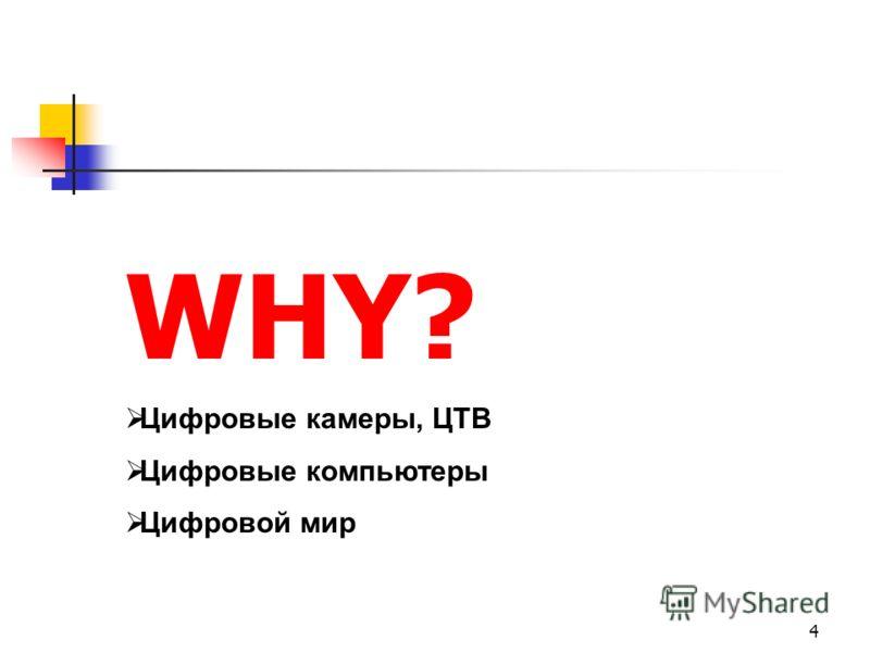 4 WHY? Цифровые камеры, ЦТВ Цифровые компьютеры Цифровой мир