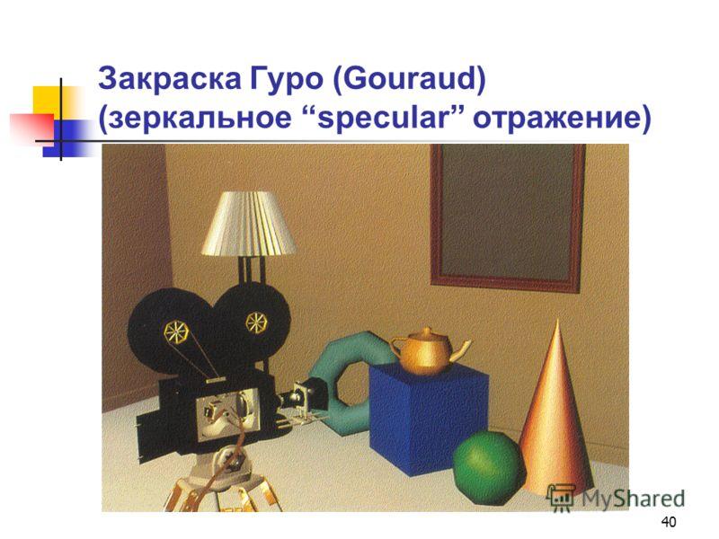 40 Закраска Гуро (Gouraud) (зеркальное specular отражение)