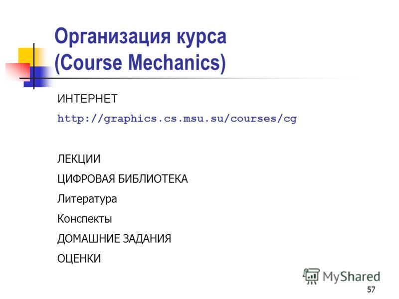 57 Организация курса (Course Mechanics) ИНТЕРНЕТ http://graphics.cs.msu.su/courses/cg ЛЕКЦИИ ЦИФРОВАЯ БИБЛИОТЕКА Литература Конспекты ДОМАШНИЕ ЗАДАНИЯ ОЦЕНКИ