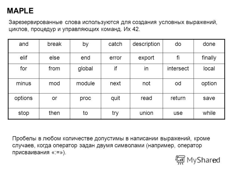 17 MAPLE Зарезервированные слова используются для создания условных выражений, циклов, процедур и управляющих команд. Их 42. аndbreakbycatchdescriptiondodone elifelseenderrorexportfifinally forfromglobalifinintersectlocal minusmodmodulenextnotodoptio