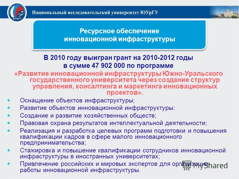 Ресурсное обеспечение инновационной инфраструктуры В 2010 году выигран грант на 2010-2012 годы в сумме 47 902 000 по программе «Развитие инновационной инфраструктуры Южно-Уральского государственного университета через создание структур управления, ко