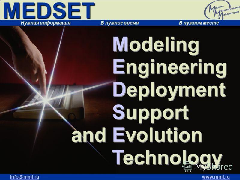 MEDSET Нужная информация В нужное время В нужном месте info@mml.ruwww.mml.ru Modeling Engineering Deployment Support and Evolution Technology