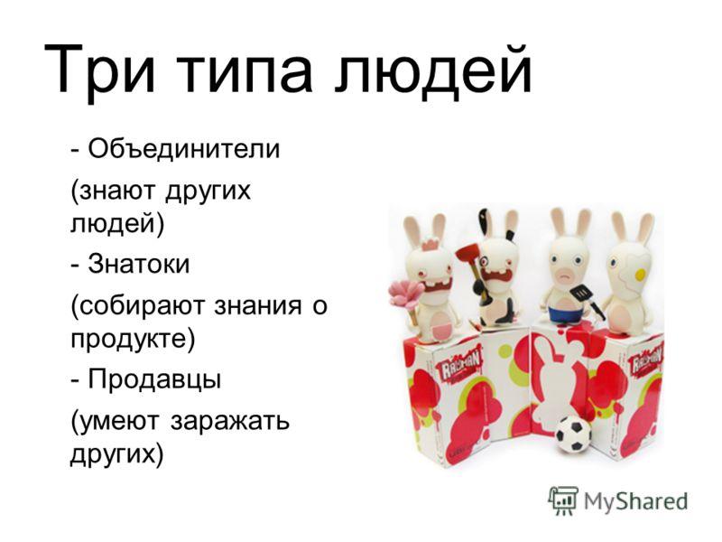 Три типа людей - Объединители (знают других людей) - Знатоки (собирают знания о продукте) - Продавцы (умеют заражать других)