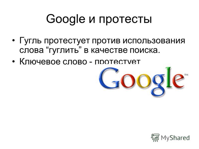 Google и протесты Гугль протестует против использования слова гуглить в качестве поиска. Ключевое слово - протестует