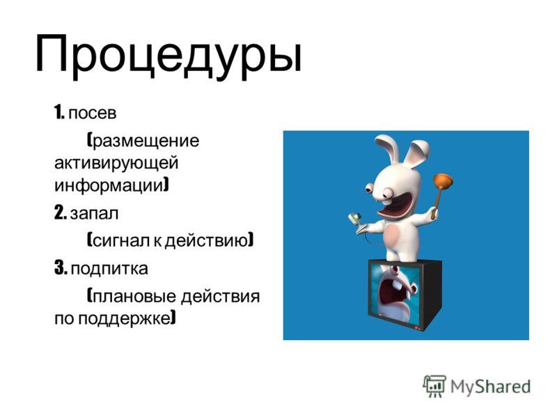 Процедуры 1. посев ( размещение активирующей информации ) 2. запал ( сигнал к действию ) 3. подпитка ( плановые действия по поддержке )