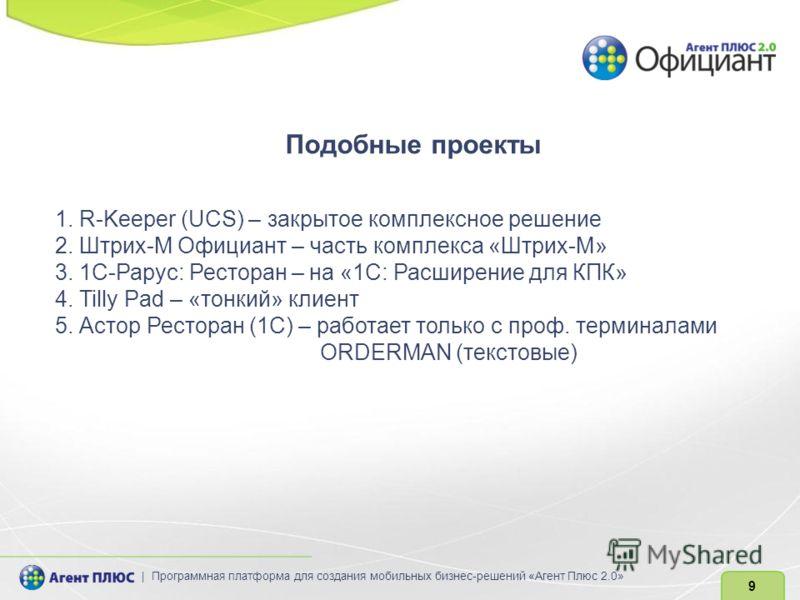 Подобные проекты 1. R-Keeper (UCS) – закрытое комплексное решение 2. Штрих-М Официант – часть комплекса «Штрих-М» 3. 1C-Рарус: Ресторан – на «1С: Расширение для КПК» 4. Tilly Pad – «тонкий» клиент 5. Астор Ресторан (1С) – работает только с проф. терм