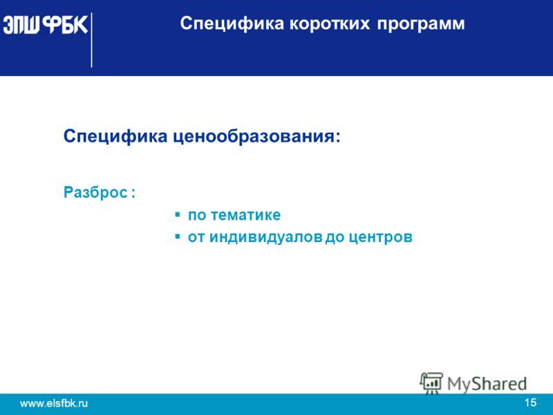 15 www.elsfbk.ru Специфика коротких программ Специфика ценообразования: Разброс : по тематике от индивидуалов до центров