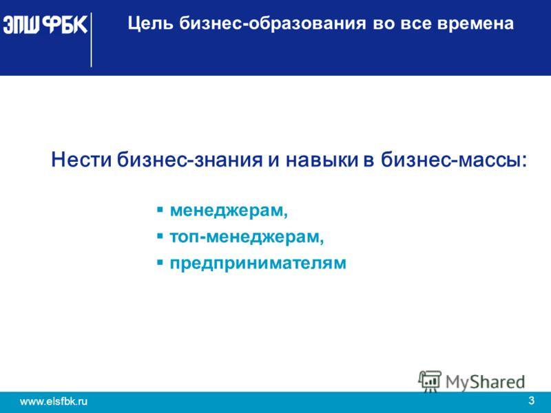 3 www.elsfbk.ru Цель бизнес-образования во все времена Нести бизнес-знания и навыки в бизнес-массы: менеджерам, топ-менеджерам, предпринимателям