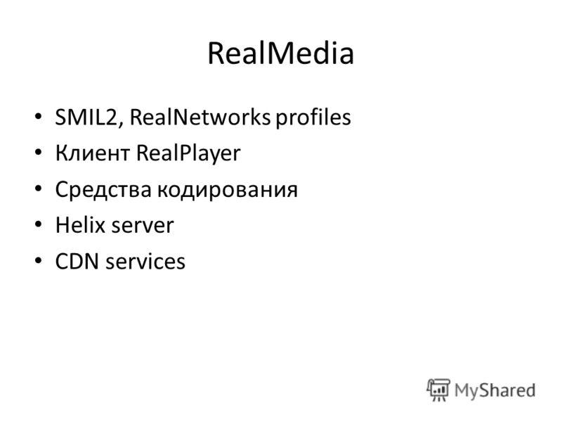 RealMedia SMIL2, RealNetworks profiles Клиент RealPlayer Средства кодирования Helix server CDN services