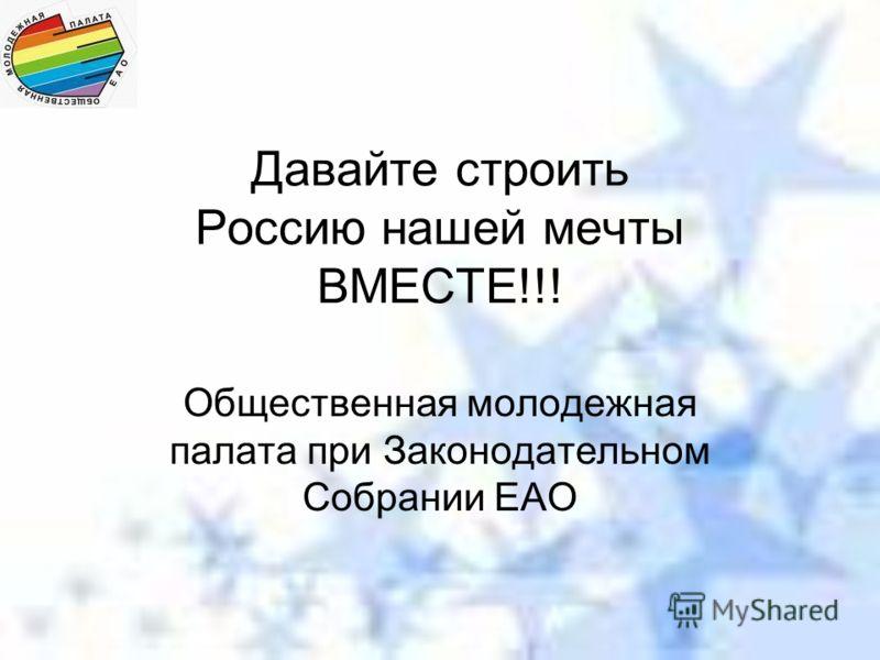 Давайте строить Россию нашей мечты ВМЕСТЕ!!! Общественная молодежная палата при Законодательном Собрании ЕАО