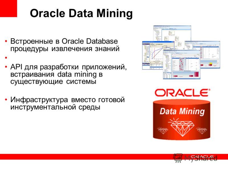 Oracle Data Mining Встроенные в Oracle Database процедуры извлечения знаний API для разработки приложений, встраивания data mining в существующие системы Инфраструктура вместо готовой инструментальной среды