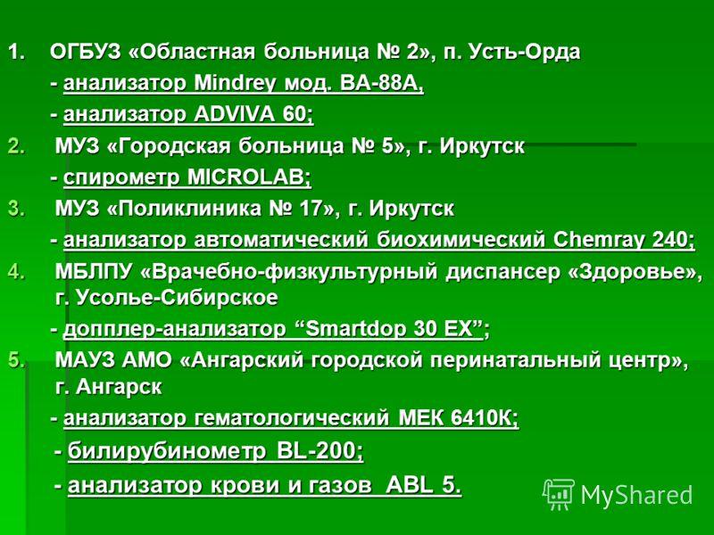 1. ОГБУЗ «Областная больница 2», п. Усть-Орда - анализатор Mindrey мод. BA-88A, - анализатор Mindrey мод. BA-88A, - анализатор ADVIVA 60; - анализатор ADVIVA 60; 2.МУЗ «Городская больница 5», г. Иркутск - спирометр MICROLAB; - спирометр MICROLAB; 3.М