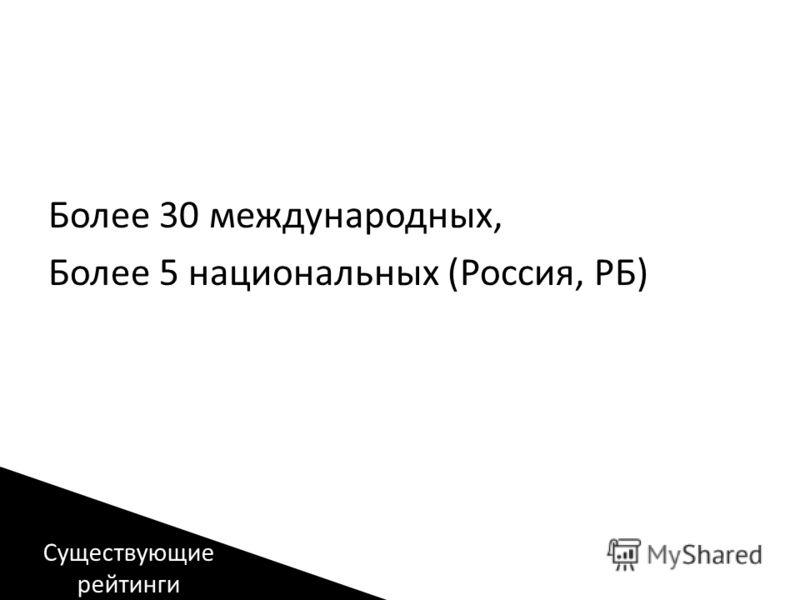Более 30 международных, Более 5 национальных (Россия, РБ) Существующие рейтинги