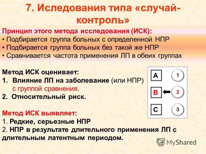 7. Иследования типа «случай- контроль» Принцип этого метода исследования (ИСК): Подбирается группа больных с определенной НПР Подбирается группа больных без такой же НПР Сравнивается частота применения ЛП в обеих группах Метод ИСК оценивает: 1.Влияни