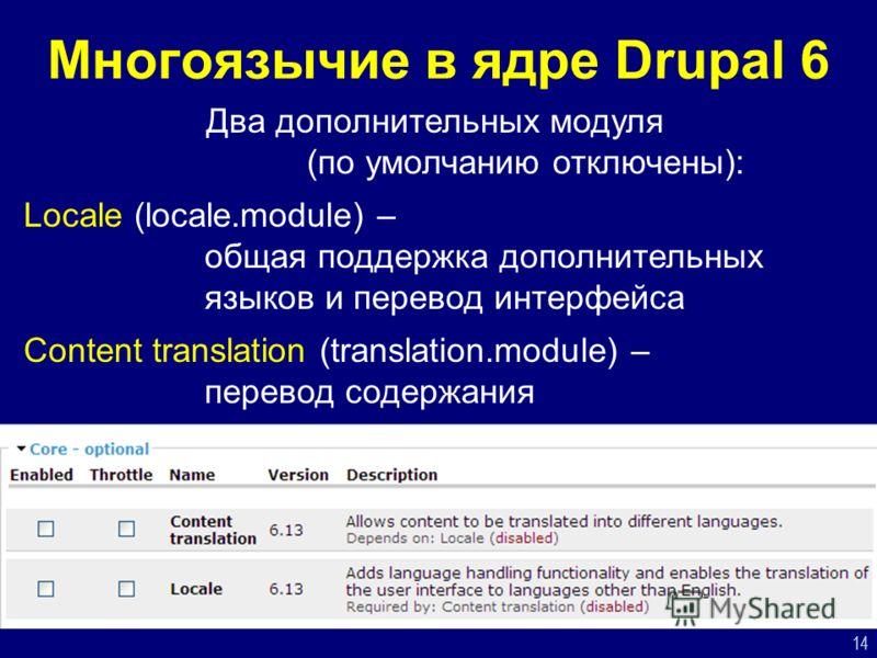 14 Многоязычие в ядре Drupal 6 Два дополнительных модуля (по умолчанию отключены): Locale (locale.module) – общая поддержка дополнительных языков и перевод интерфейса Content translation (translation.module) – перевод содержания