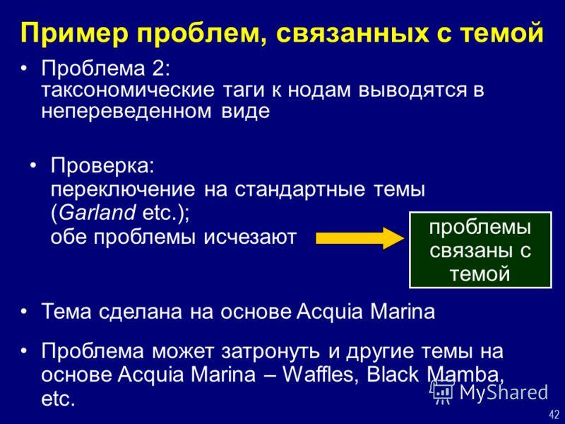 42 Пример проблем, связанных с темой Проблема 2: таксономические таги к нодам выводятся в непереведенном виде Проверка: переключение на стандартные темы (Garland etc.); обе проблемы исчезают проблемы связаны с темой Тема сделана на основе Acquia Mari