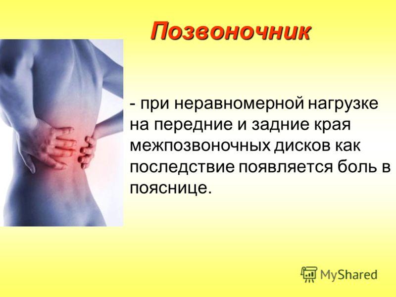 Позвоночник - при неравномерной нагрузке на передние и задние края межпозвоночных дисков как последствие появляется боль в пояснице.