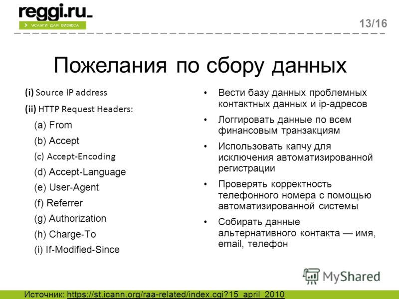 Пожелания по сбору данных 13/16 (i) Source IP address (ii) HTTP Request Headers: (a) From (b) Accept (c) AcceptEncoding (d) Accept Language (e) User Agent (f) Referrer (g) Authorization (h) Charge To (i) If Modified Since Вести базу данных проблемных