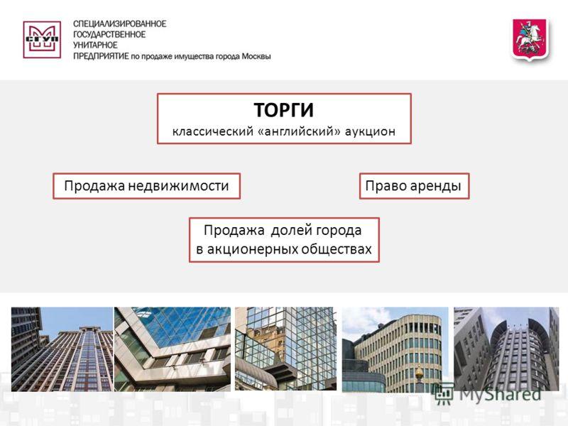 ТОРГИ классический «английский» аукцион Продажа недвижимости Продажа долей города в акционерных обществах Право аренды