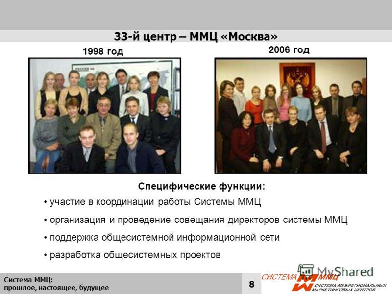 Система ММЦ: прошлое, настоящее, будущее 8 33-й центр – ММЦ «Москва» участие в координации работы Системы ММЦ организация и проведение совещания директоров системы ММЦ поддержка общесистемной информационной сети разработка общесистемных проектов Спец