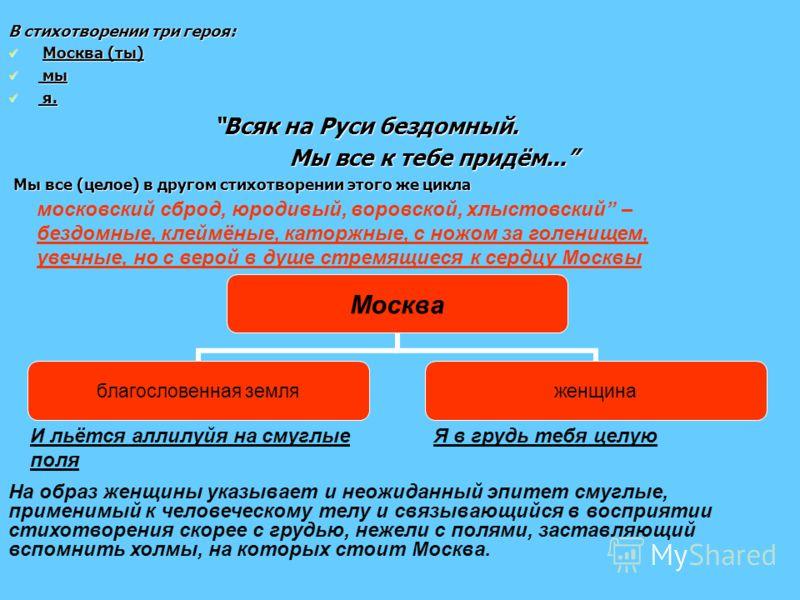 В стихотворении три героя: М Москва (ты) м мы я я. Всяк на Руси бездомный. Мы все к тебе придём... Мы все (целое) в другом стихотворении этого же цикла московский сброд, юродивый, воровской, хлыстовский – бездомные, клеймёные, каторжные, с ножом за г