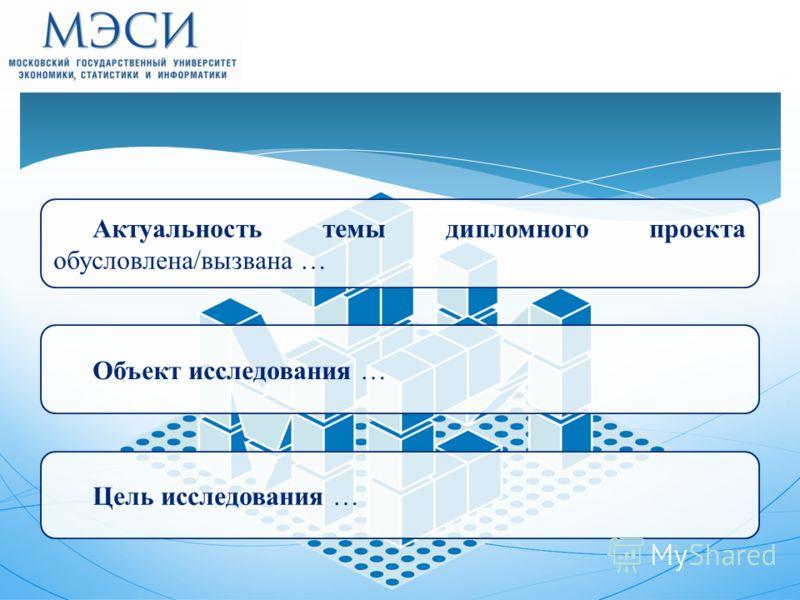 Актуальность темы дипломного проекта обусловлена/вызвана … Объект исследования … Цель исследования …