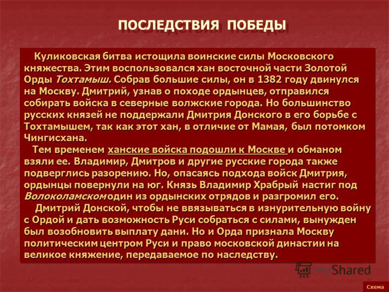 ПОСЛЕДСТВИЯ ПОБЕДЫ Схема Куликовская битва истощила воинские силы Московского княжества. Этим воспользовался хан восточной части Золотой Орды Тохтамыш. Собрав большие силы, он в 1382 году двинулся на Москву. Дмитрий, узнав о походе ордынцев, отправил