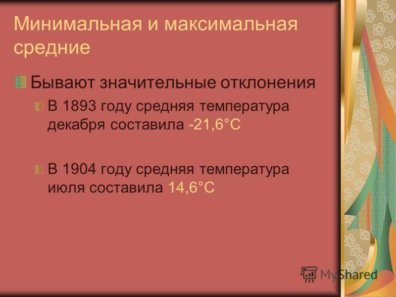 Минимальная и максимальная средние Бывают значительные отклонения В 1893 году средняя температура декабря составила -21,6°C В 1904 году средняя температура июля составила 14,6°C