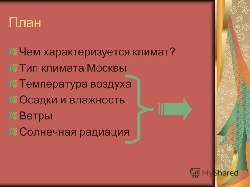 План Чем характеризуется климат? Тип климата Москвы Температура воздуха Осадки и влажность Ветры Солнечная радиация