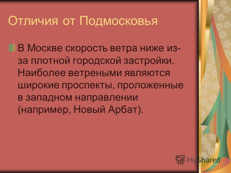 Отличия от Подмосковья В Москве скорость ветра ниже из- за плотной городской застройки. Наиболее ветреными являются широкие проспекты, проложенные в западном направлении (например, Новый Арбат).