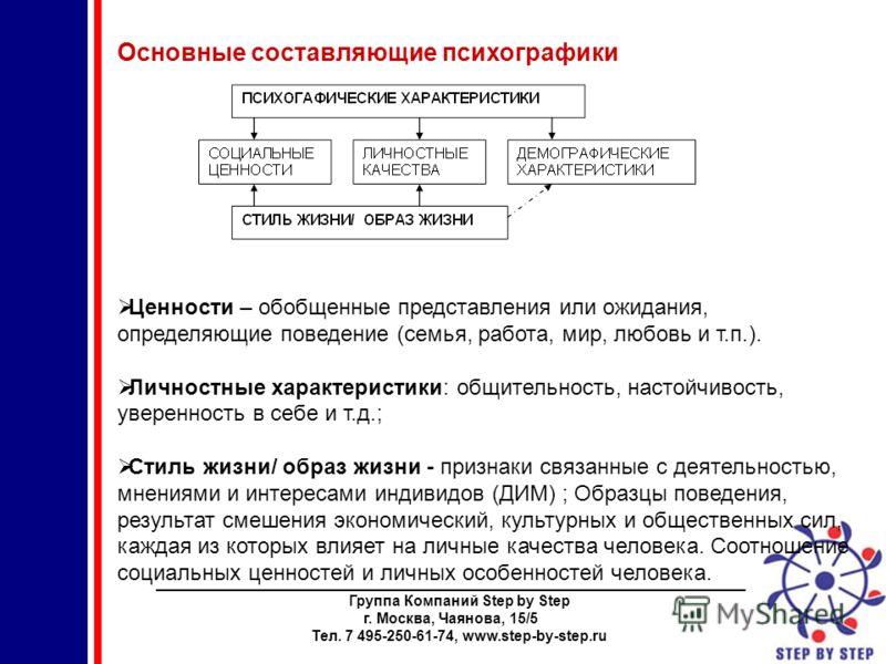 ________________________________________________________________________ Группа Компаний Step by Step г. Москва, Чаянова, 15/5 Тел. 7 495-250-61-74, www.step-by-step.ru Основные составляющие психографики Ценности – обобщенные представления или ожидан