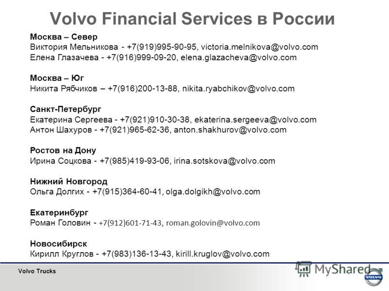 Volvo Trucks Volvo Financial Services в России Москва – Север Виктория Мельникова - +7(919)995-90-95, victoria.melnikova@volvo.com Елена Глазачева - +7(916)999-09-20, elena.glazacheva@volvo.com Москва – Юг Никита Рябчиков – +7(916)200-13-88, nikita.r