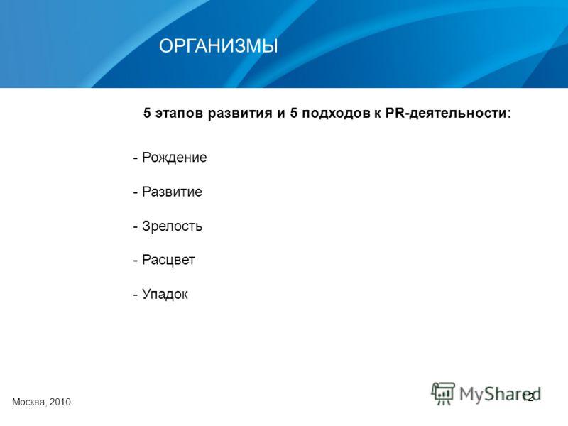 12 Москва, 2010 ОРГАНИЗМЫ - Рождение - Развитие - Зрелость - Расцвет - Упадок 5 этапов развития и 5 подходов к PR-деятельности: