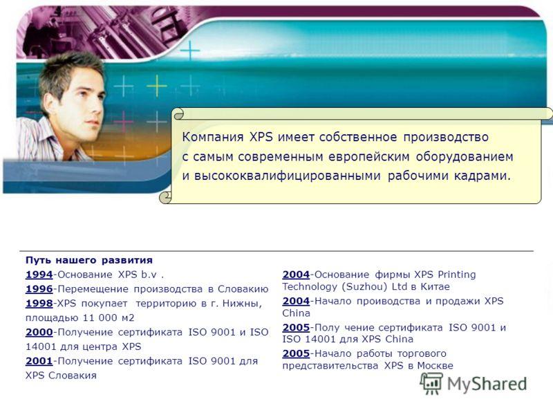 Компания XPS имеет собственное производство с самым современным европейским оборудованием и высококвалифицированными рабочими кадрами. Путь нашего развития 1994-Основание XPS b.v. 1996-Перемещение производства в Словакию 1998-XPS покупает территорию