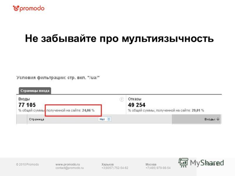 © 2010 Promodowww.promodo.ru contact@promodo.ru Москва +7(495) 979-98-54 Не забывайте про мультиязычность 18 из 31 Харьков +3(8057) 752-54-62