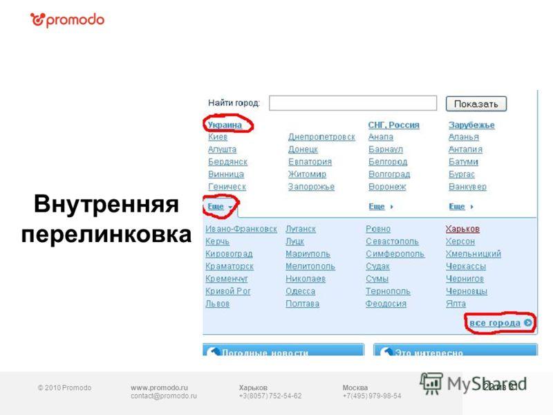 © 2010 Promodowww.promodo.ru contact@promodo.ru Москва +7(495) 979-98-54 Внутренняя перелинковка 22 из 31 Харьков +3(8057) 752-54-62