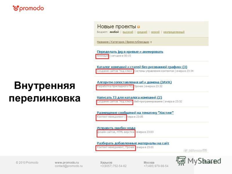 © 2010 Promodowww.promodo.ru contact@promodo.ru Москва +7(495) 979-98-54 Внутренняя перелинковка 25 из 31 Харьков +3(8057) 752-54-62