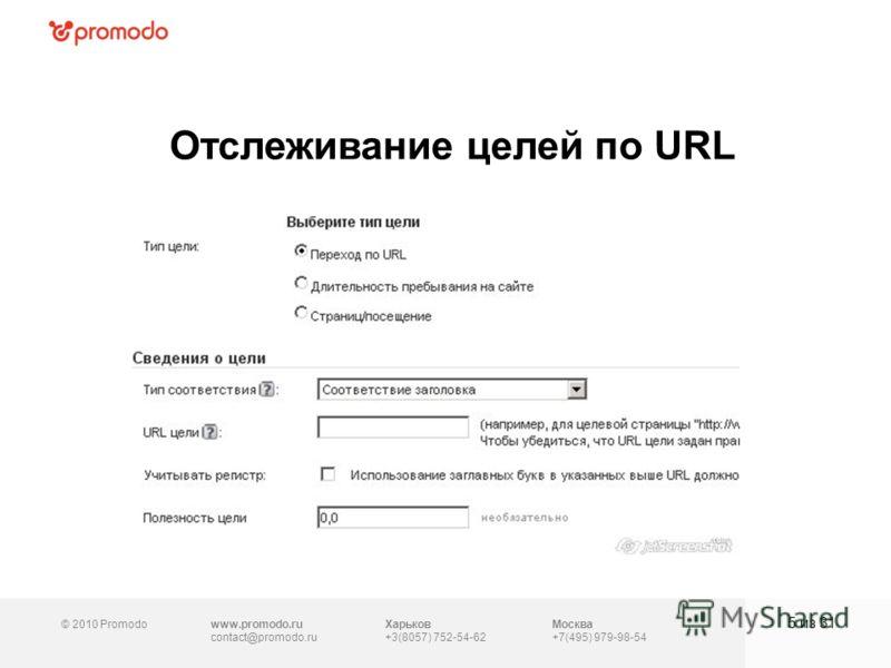 © 2010 Promodowww.promodo.ru contact@promodo.ru Москва +7(495) 979-98-54 Отслеживание целей по URL 5 из 31 Харьков +3(8057) 752-54-62