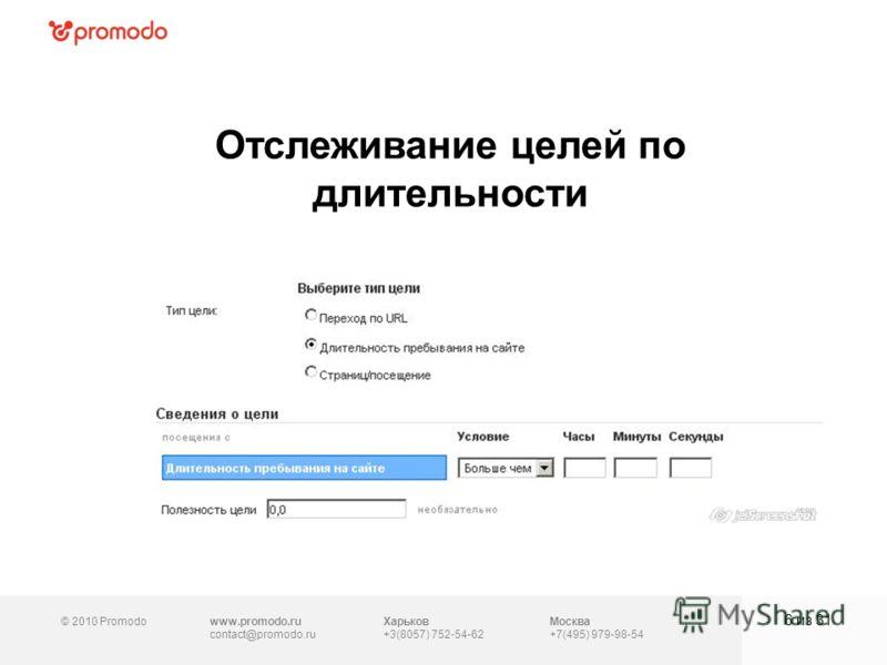 © 2010 Promodowww.promodo.ru contact@promodo.ru Москва +7(495) 979-98-54 Отслеживание целей по длительности 6 из 31 Харьков +3(8057) 752-54-62