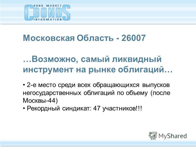 Московская Область - 26007 …Возможно, самый ликвидный инструмент на рынке облигаций… 2-е место среди всех обращающихся выпусков негосударственных облигаций по объему (после Москвы-44) Рекордный синдикат: 47 участников!!!