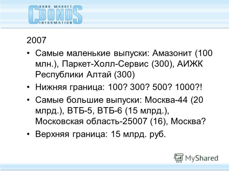 2007 Самые маленькие выпуски: Амазонит (100 млн.), Паркет-Холл-Сервис (300), АИЖК Республики Алтай (300) Нижняя граница: 100? 300? 500? 1000?! Самые большие выпуски: Москва-44 (20 млрд.), ВТБ-5, ВТБ-6 (15 млрд.), Московская область-25007 (16), Москва