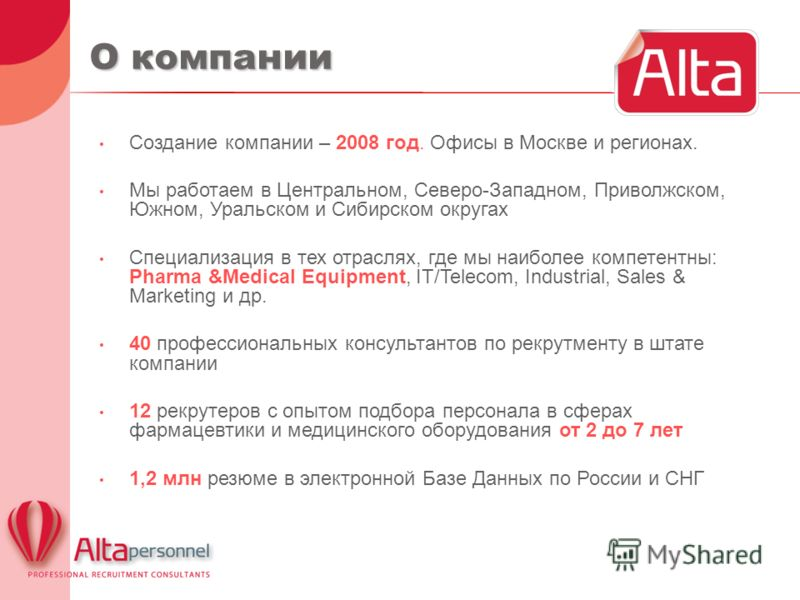О компании Создание компании – 2008 год. Офисы в Москве и регионах. Мы работаем в Центральном, Северо-Западном, Приволжском, Южном, Уральском и Сибирском округах Специализация в тех отраслях, где мы наиболее компетентны: Pharma &Medical Equipment, IT