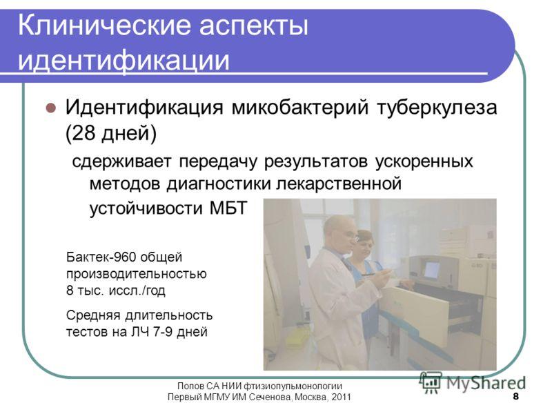 Клинические аспекты идентификации Идентификация микобактерий туберкулеза (28 дней) сдерживает передачу результатов ускоренных методов диагностики лекарственной устойчивости МБТ Бактек-960 общей производительностью 8 тыс. иссл./год Средняя длительност