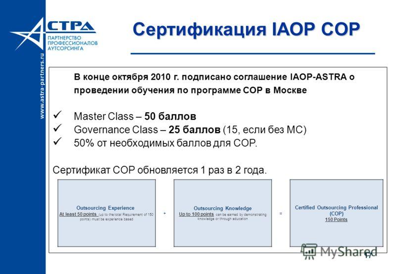 Сертификация IAOP COP В конце октября 2010 г. подписано соглашение IAOP-ASTRA о проведении обучения по программе COP в Москве Master Class – 50 баллов Governance Class – 25 баллов (15, если без MC) 50% от необходимых баллов для COP. Сертификат COP об