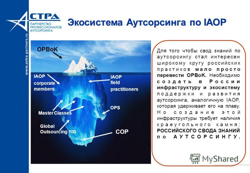 Экосистема Аутсорсинга по IAOP Для того чтобы свод знаний по аутсорсингу стал интересен широкому кругу российских практиков мало просто перевести OPBoK. Необходимо создать в России инфраструктуру и экосистему поддержки и развития аутсорсинга, аналоги