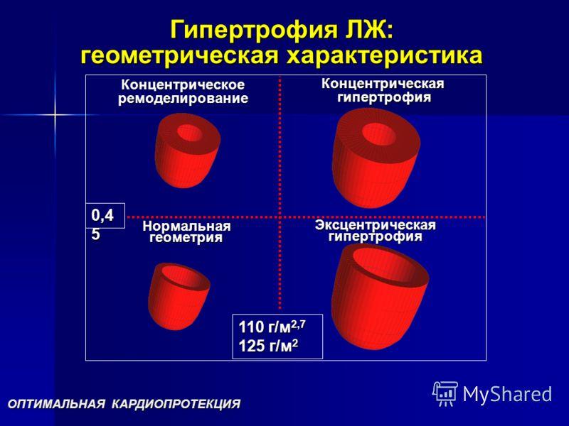Гипертрофия ЛЖ: геометрическая характеристика Нормальнаягеометрия Эксцентрическаягипертрофия Концентрическое ремоделирование Концентрическая гипертрофия гипертрофия 110 г/м 2,7 125 г/м 2 0,4 5 ОПТИМАЛЬНАЯ КАРДИОПРОТЕКЦИЯ